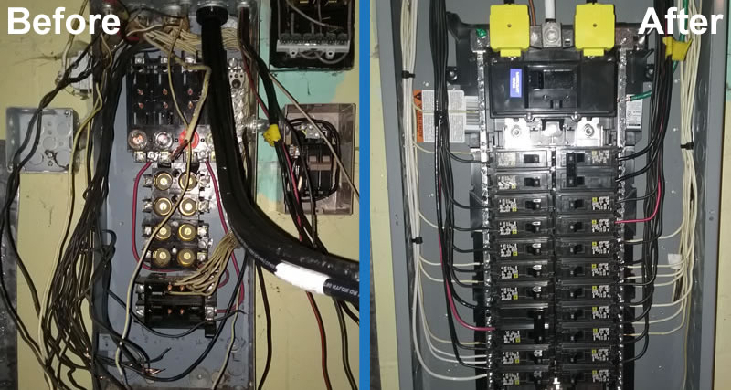 this fuse box was replaced with a circuit breaker offering a much cleaner  and easier to